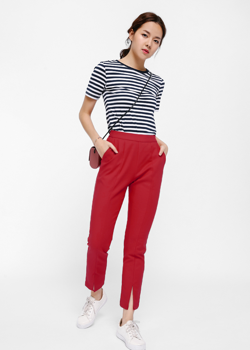 Pynvin Slit Hem Crop Pants