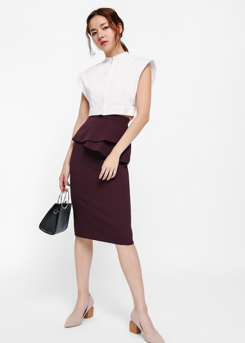 Mealeen Asymmetrical Layered Peplum Pencil Skirt