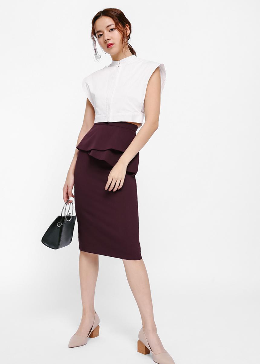Mealeen Asymmetrical Layered Peplum Pencil Skirt