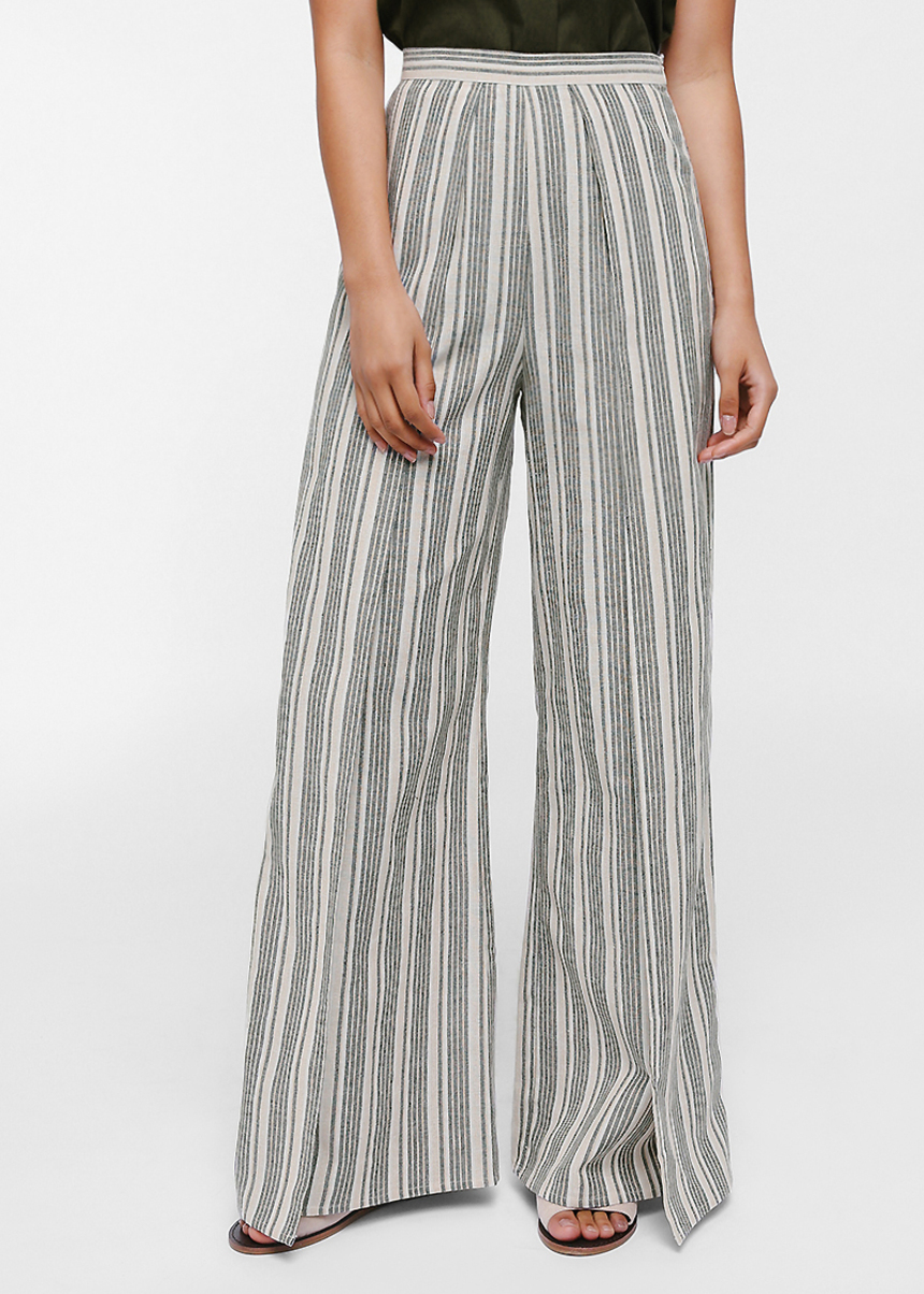 Qualis Striped Wide Leg Pants