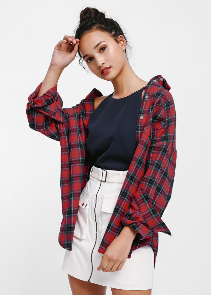 Slynne Oversized Plaid Shirt