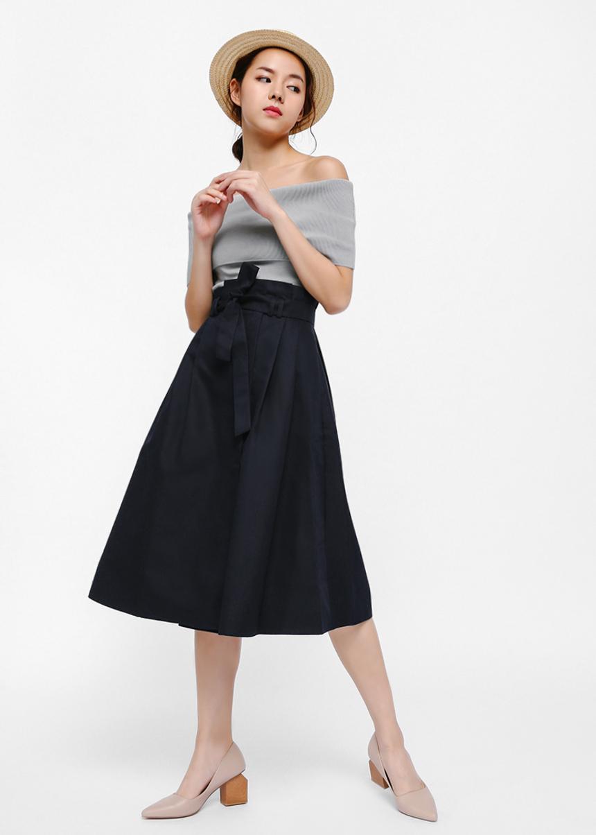 Maudina Sash Foldover Paperbag Midi Skirt