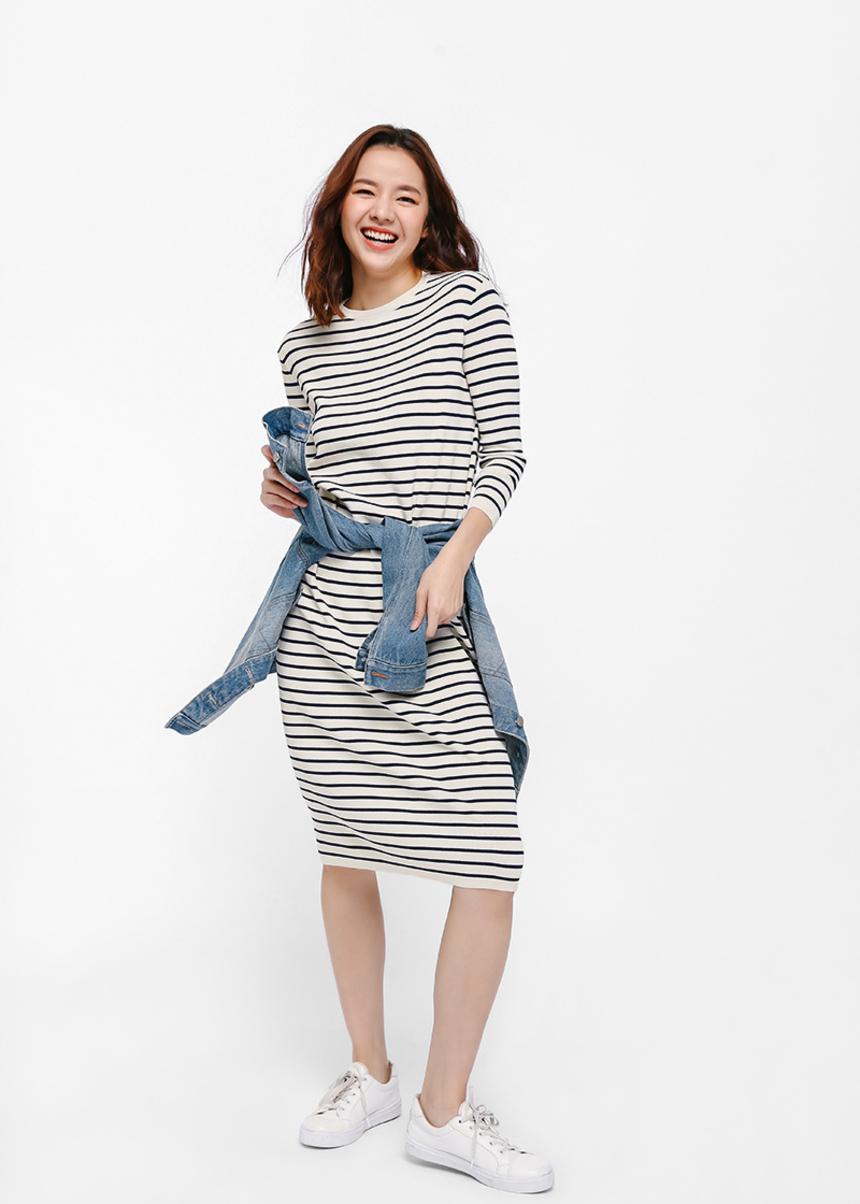 Dyliki Striped Mid T-shirt Dress