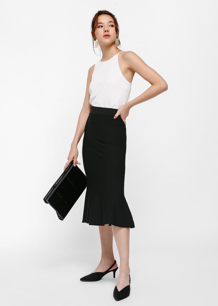Persa Fluted Hem Midi Skirt