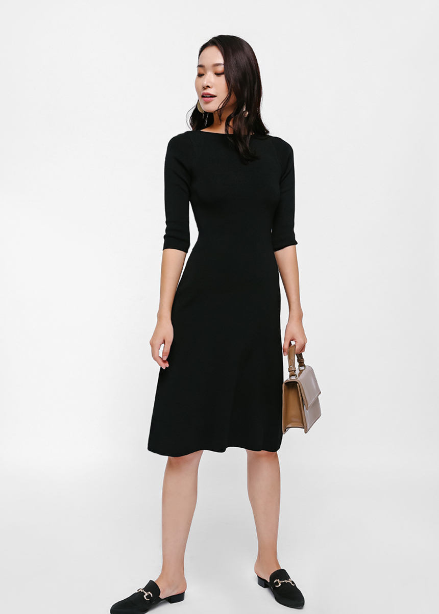 Cicely Boat Neck Knit Dress