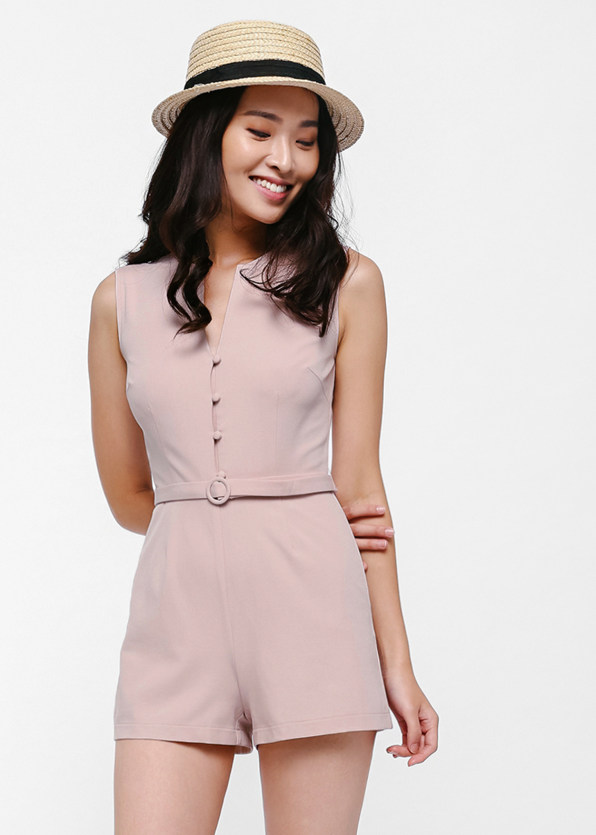 Pelsaym Button Front Belted Playsuit