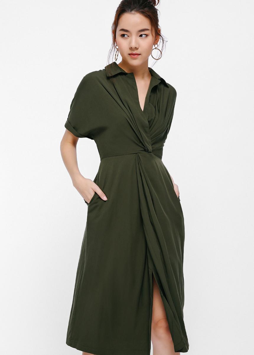 Lyuro Twist Front Midi Dress