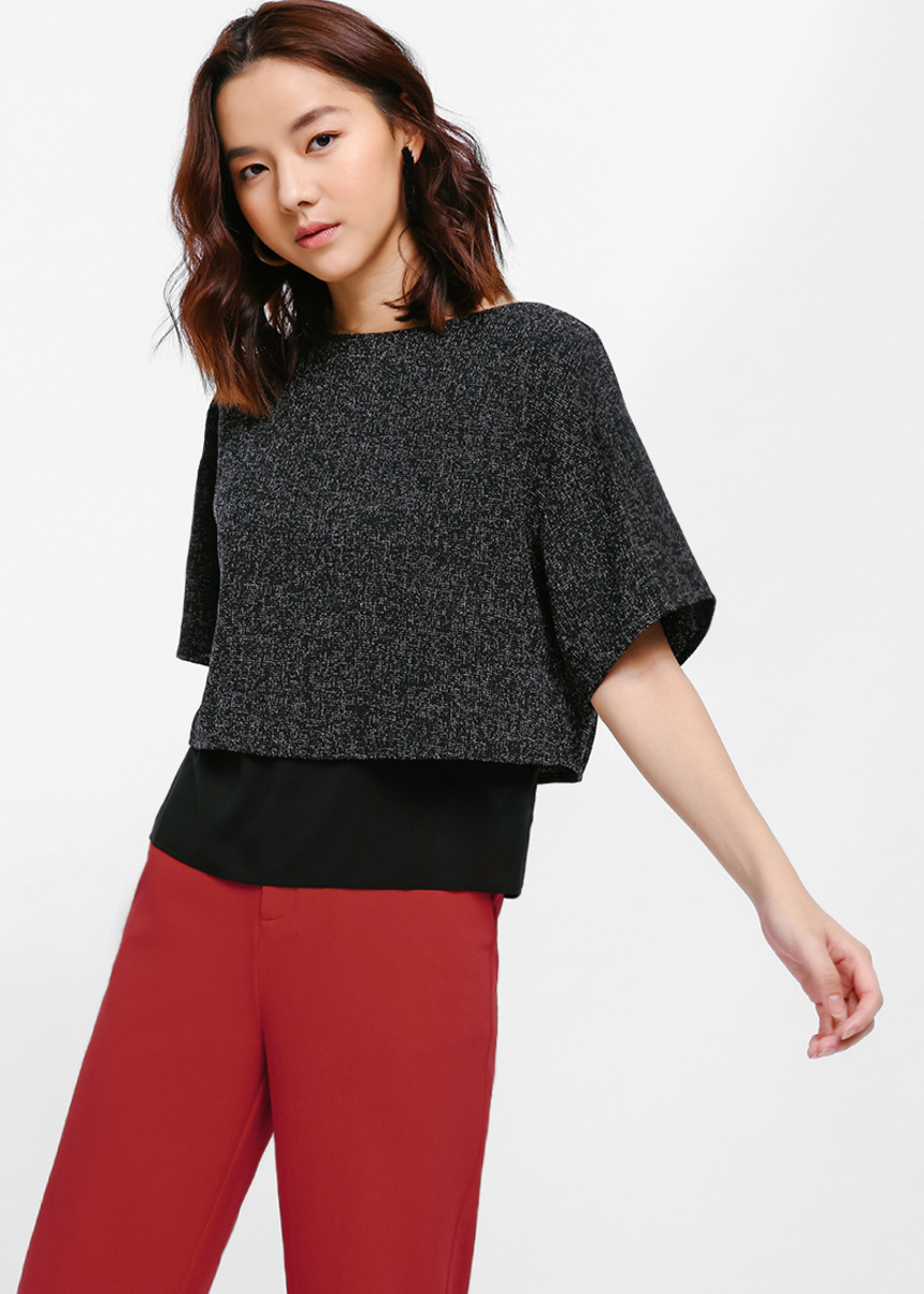 Teia Textured Boxy Layered Top