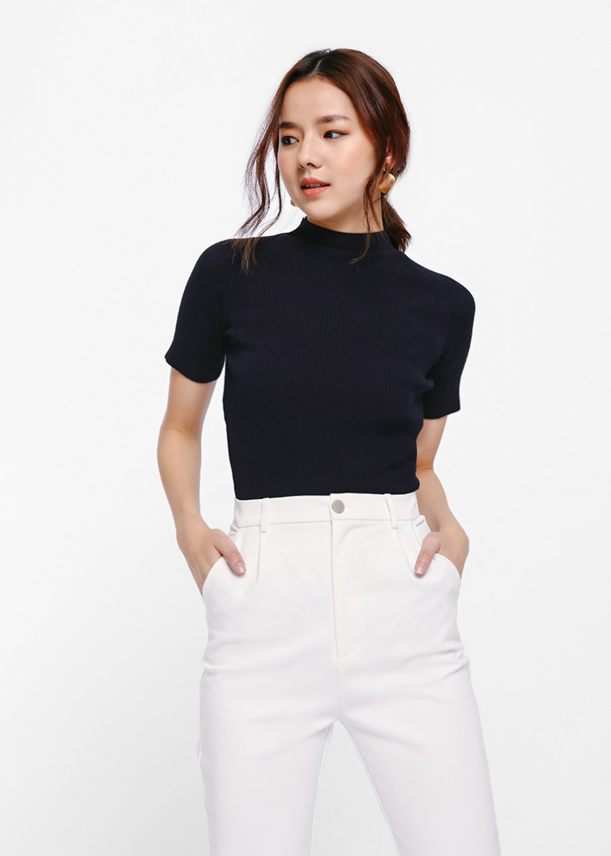 Vedinia Funnel Neck Knit Top