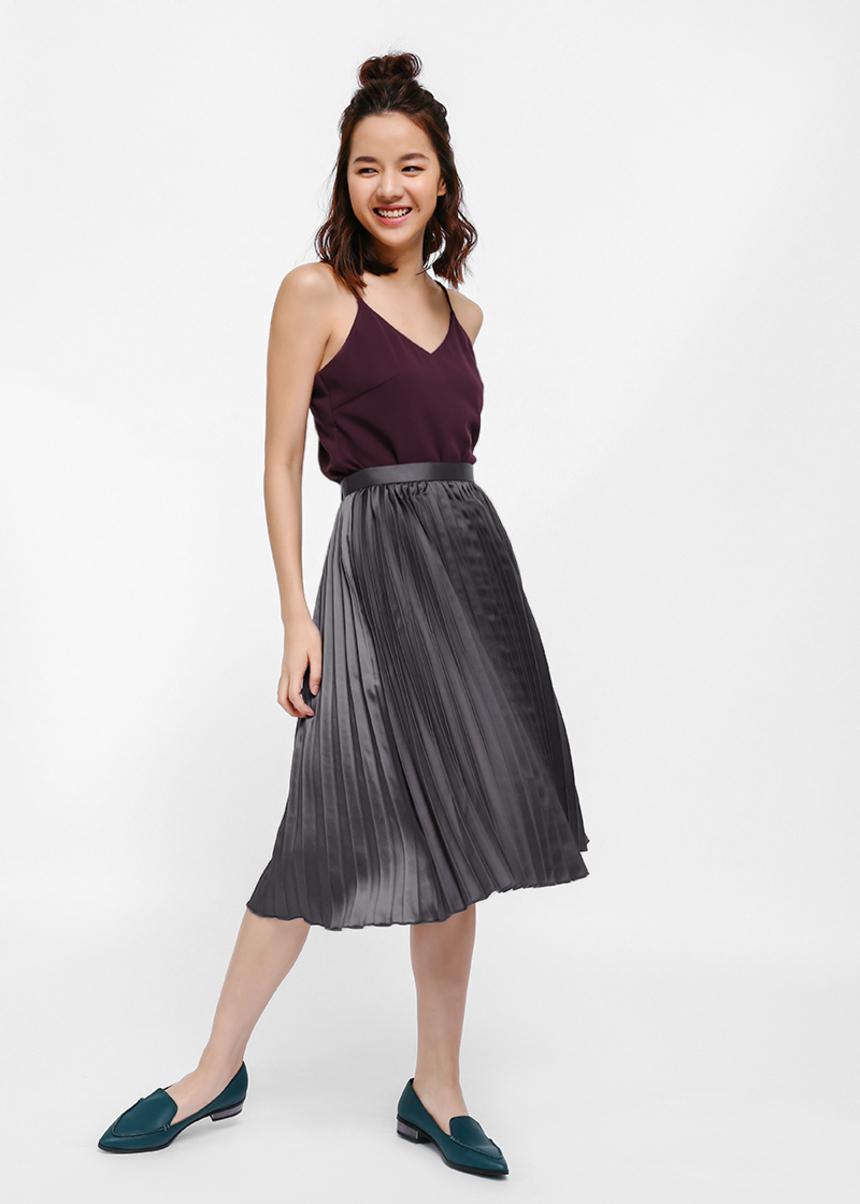 Saciel Metallic Pleated Midi Skirt