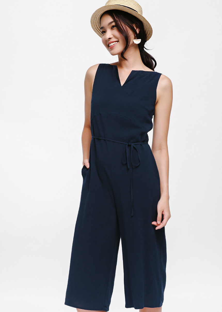 Serafina Notch Neckline Jumpsuit
