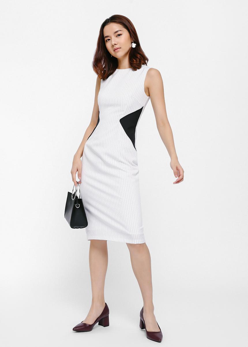 Medilla Contrast Striped Midi Dress