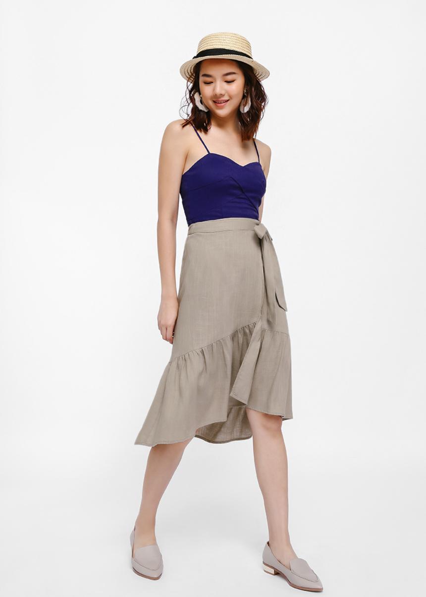 Hibiki Ruffle Hem Wrap Skirt