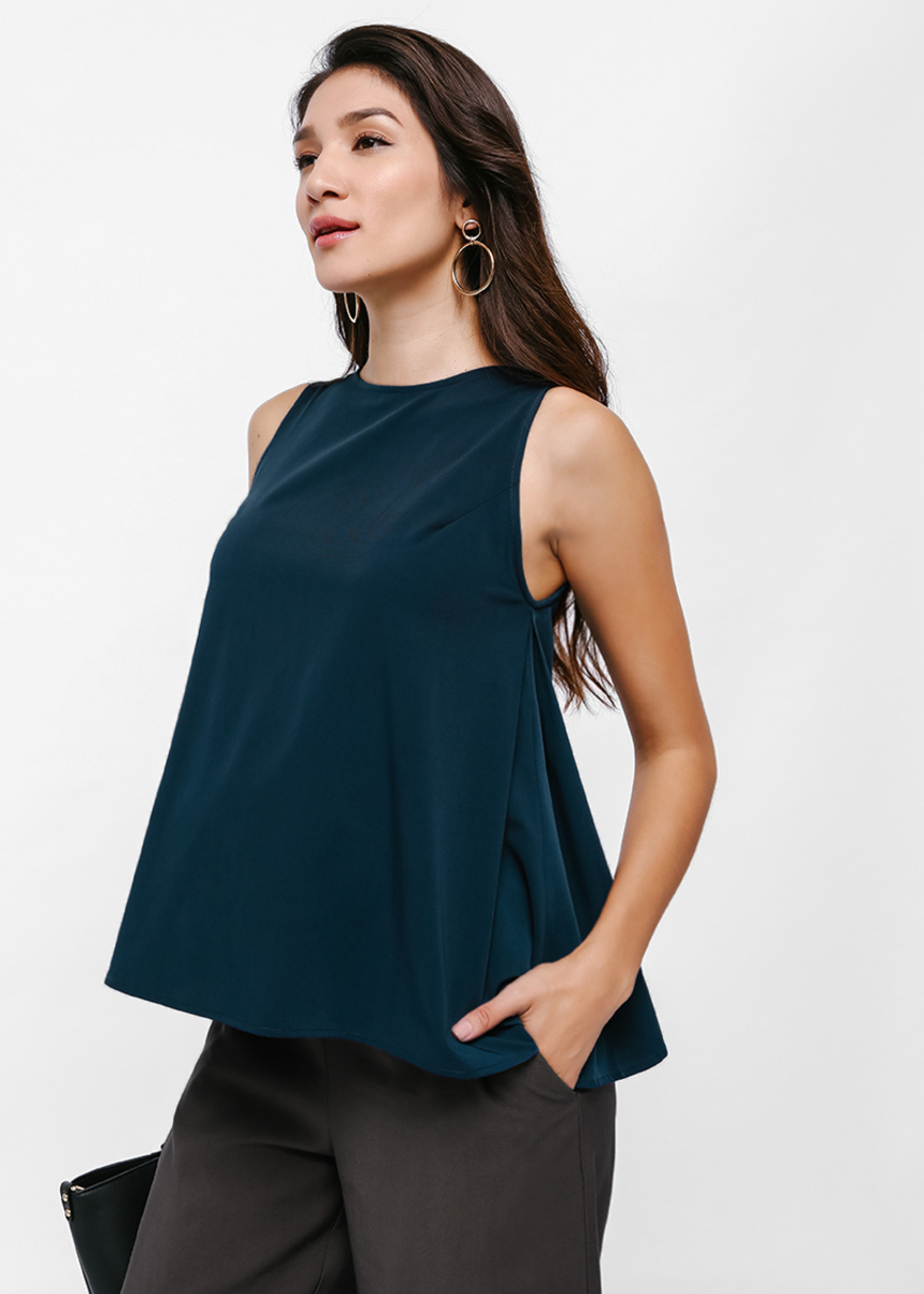 Ava Trapeze Side Pleat Top