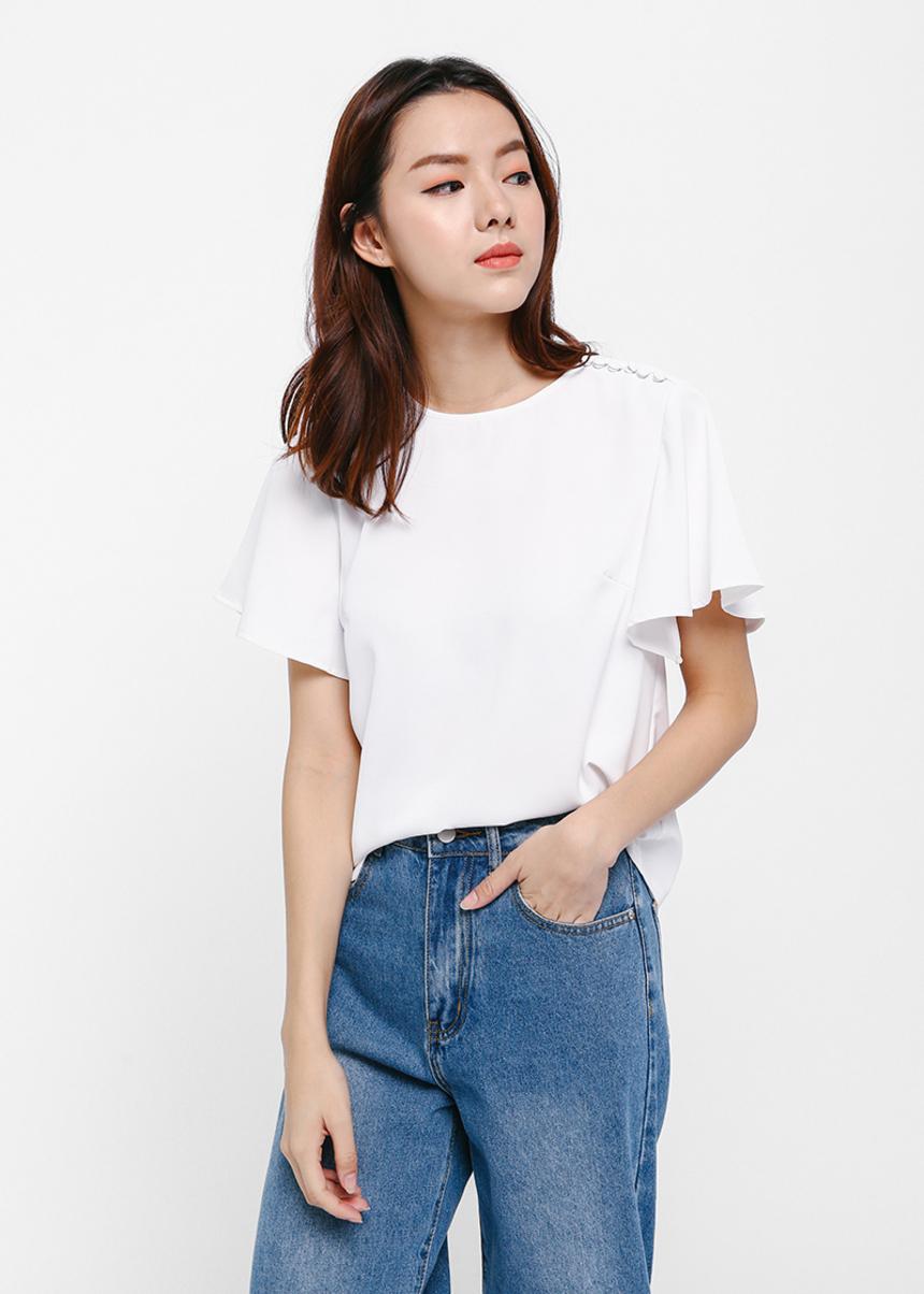 Shiori Flutter Sleeve Top