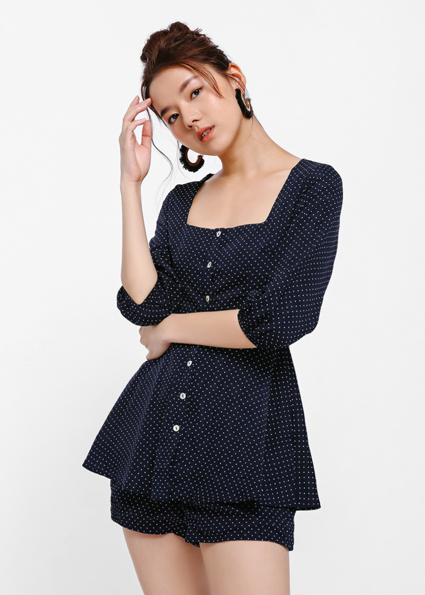 Lilith Polka Dot Square Neck Playsuit