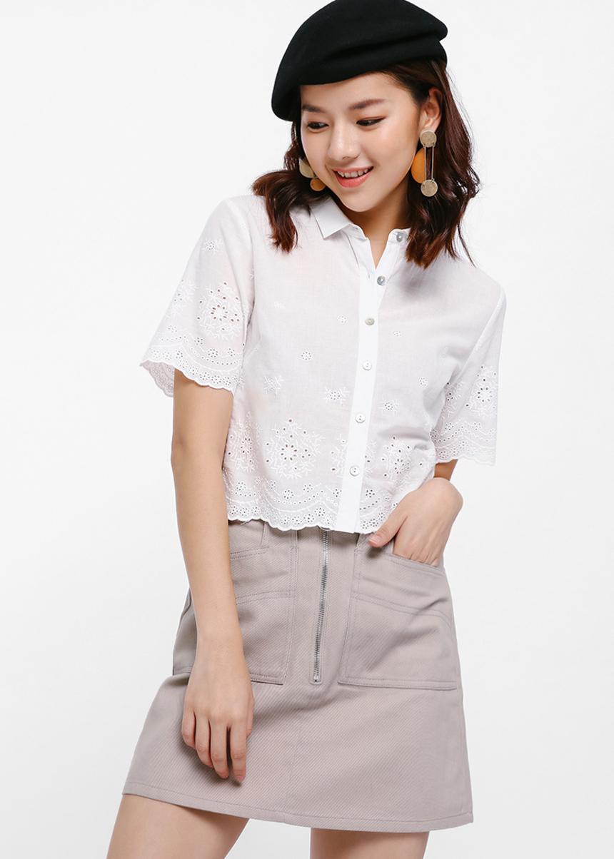 Martha Broderie Anglaise Crop Shirt