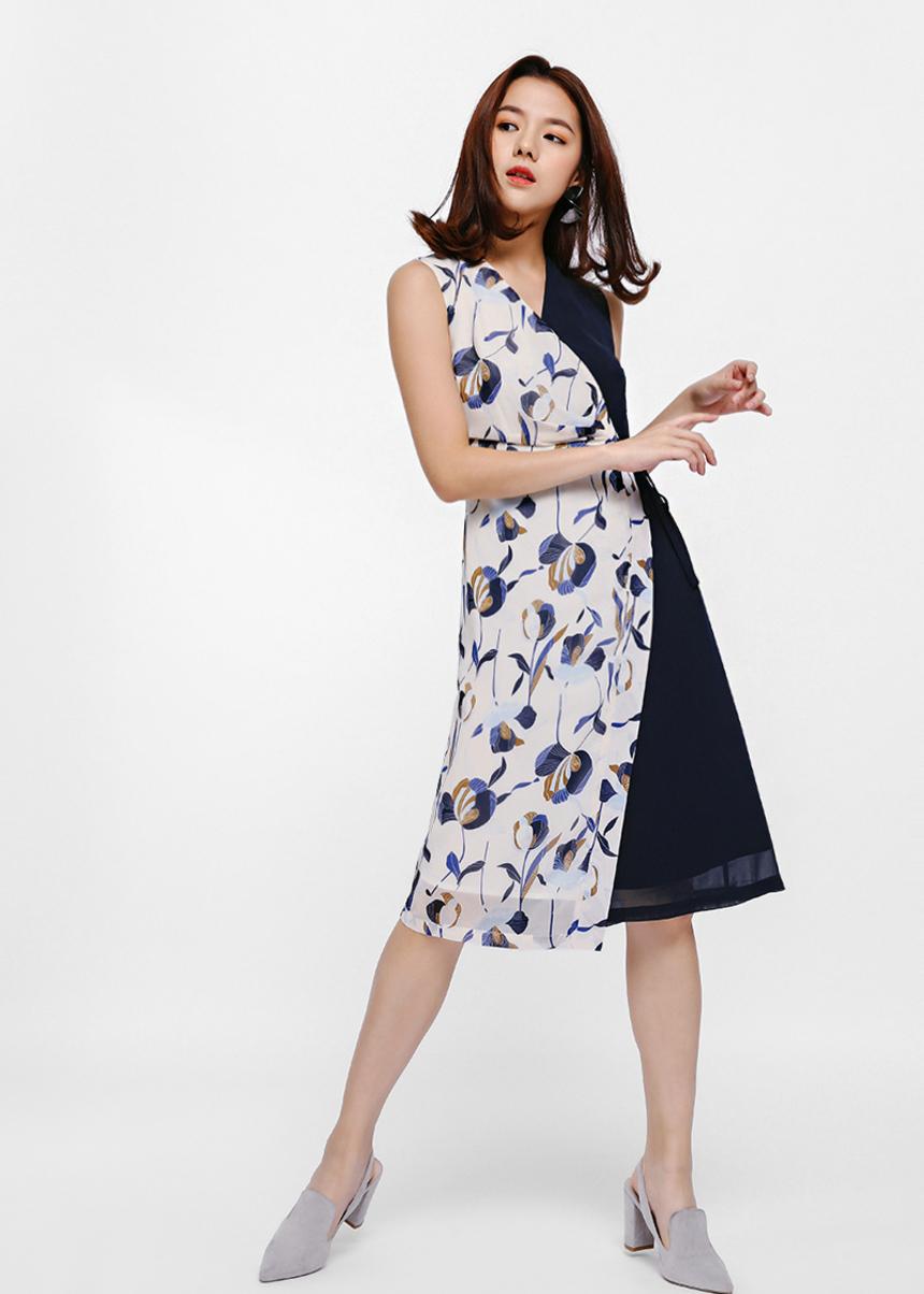 Neia Printed Wrap Dress