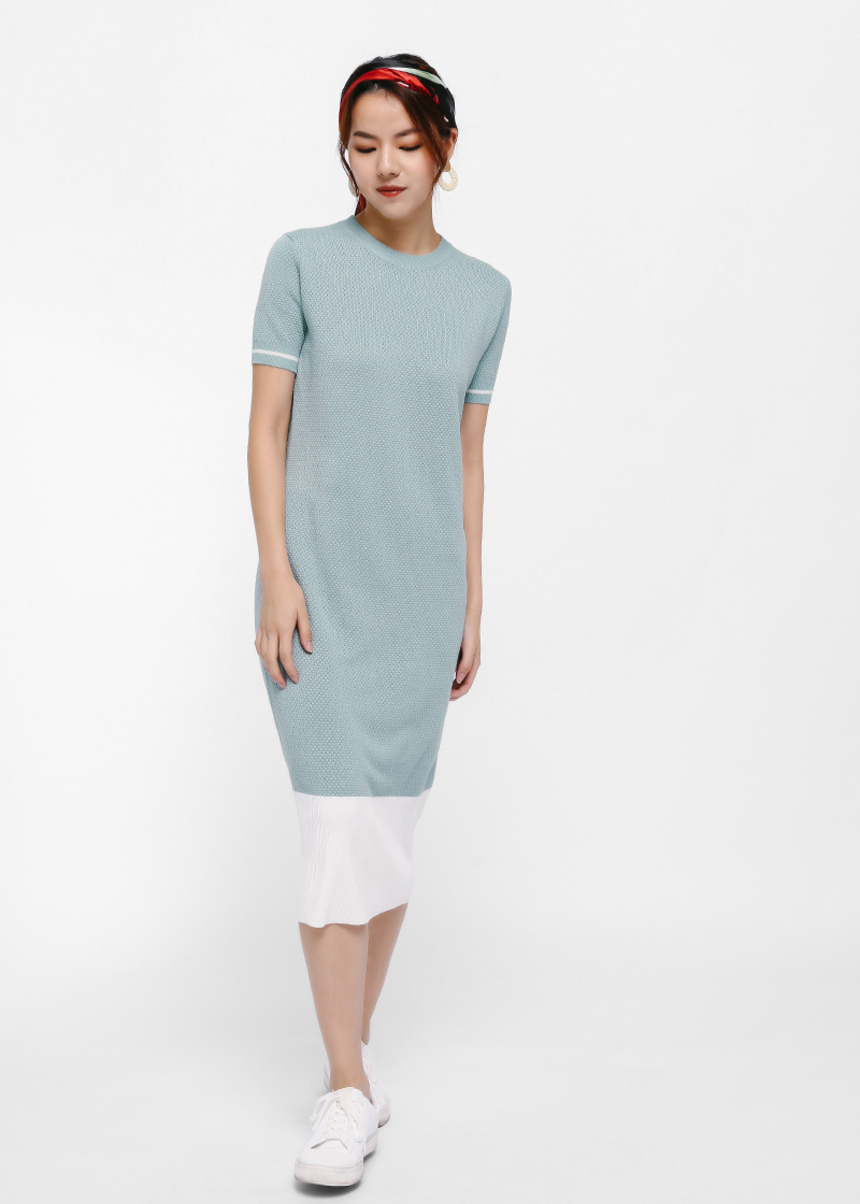Grennett Colourblock Hem Knit Midi Dress