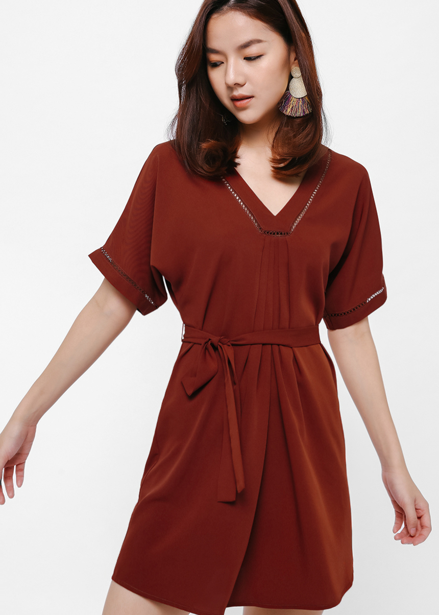 Nela Crochet Trim Swing Dress
