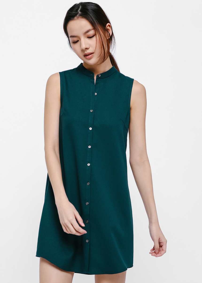 Brooke Sleeveless Button-up Shirt Dress
