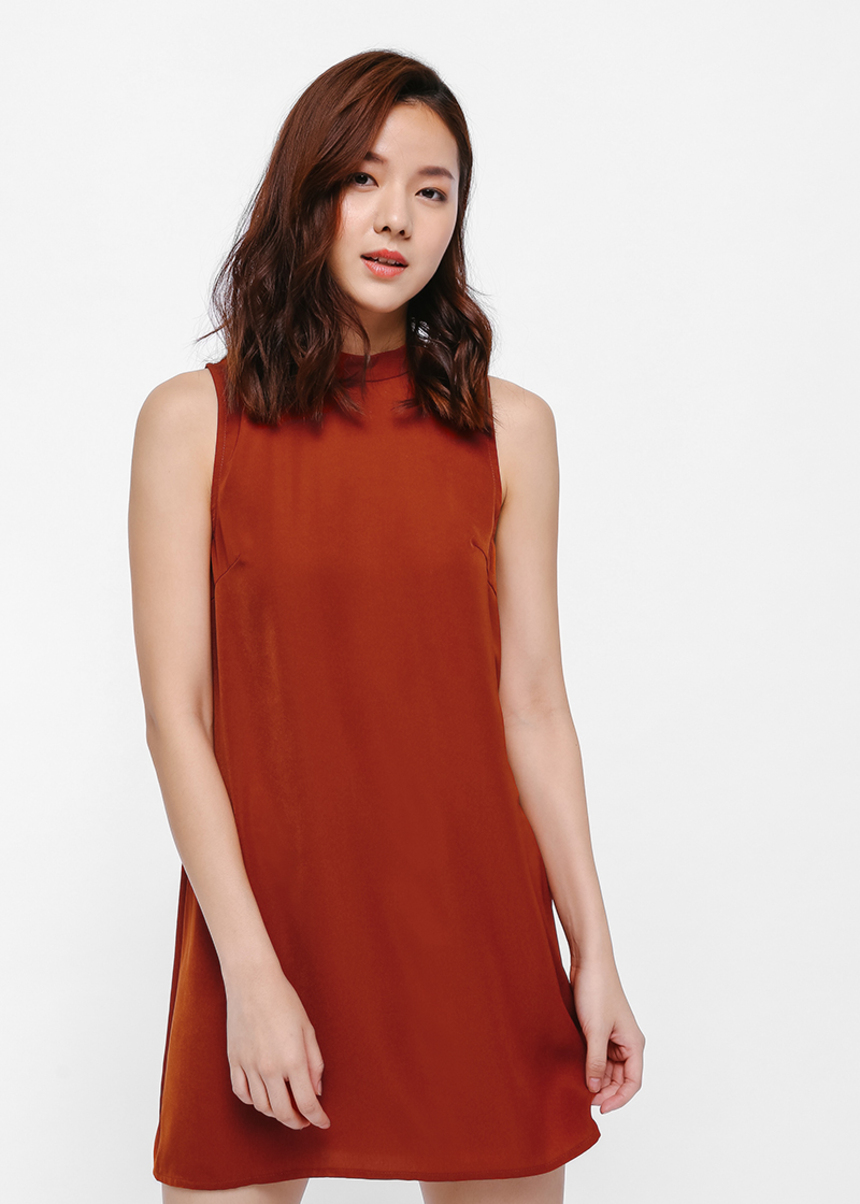 Lynde Mock Neck Shift Dress