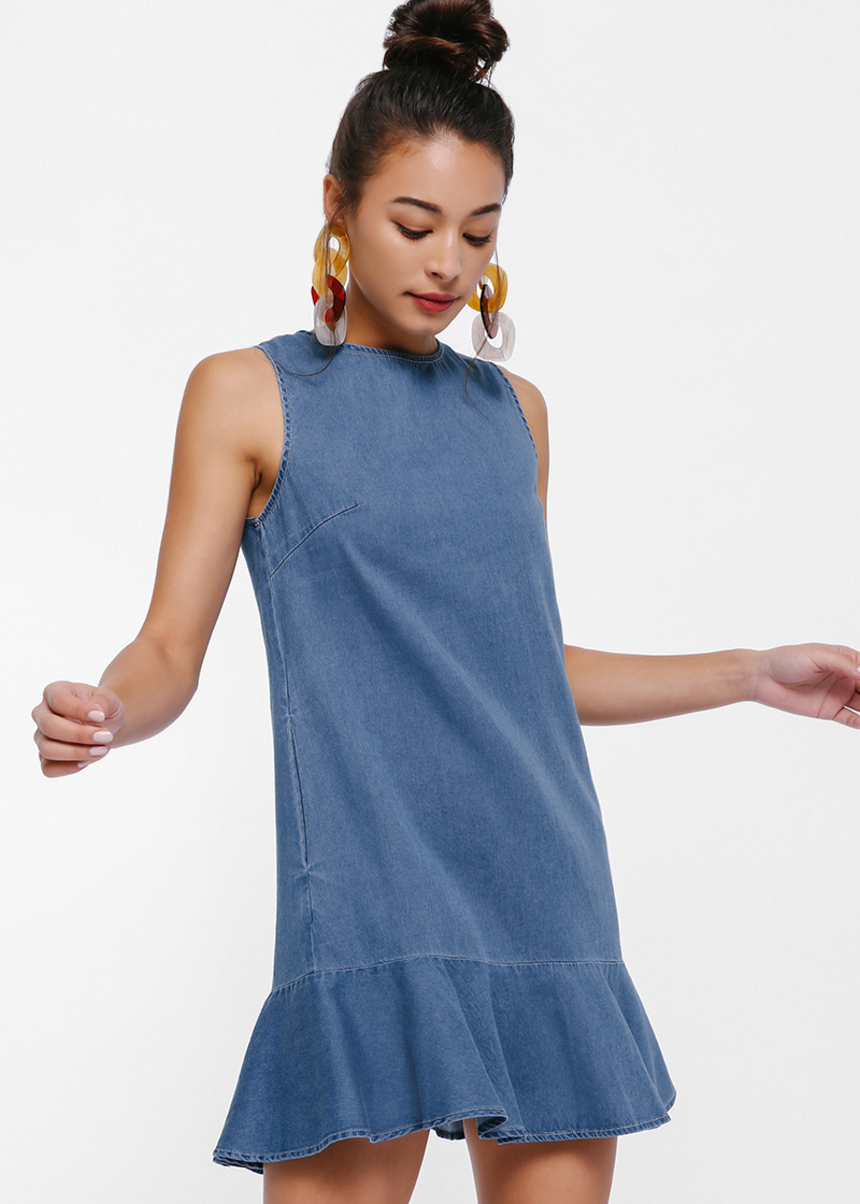 Hannah Denim Fluted Hem Mini Dress
