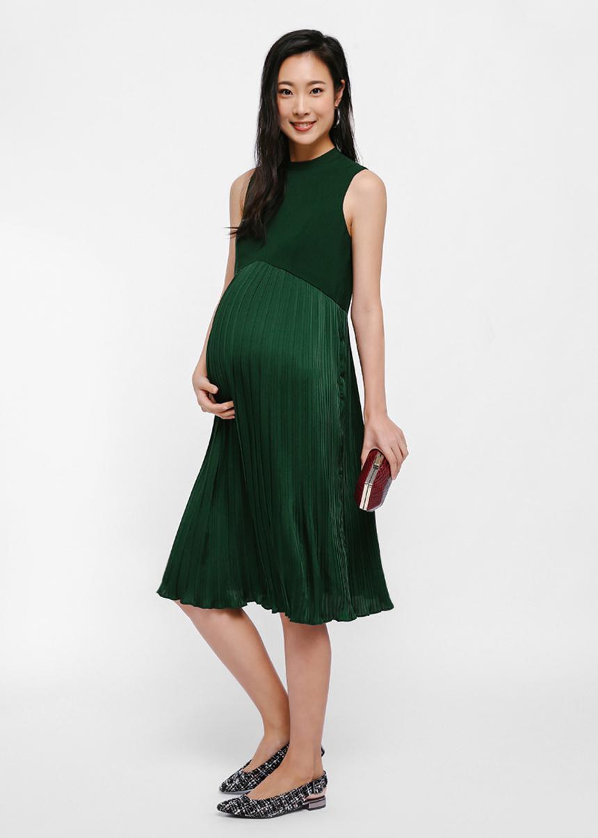 Trisha Mock Neck Pleated Dress