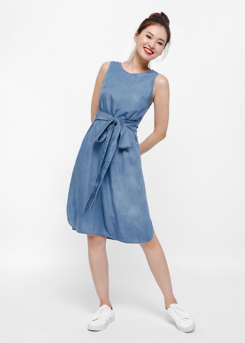 Joy Waist Sash Denim Dress