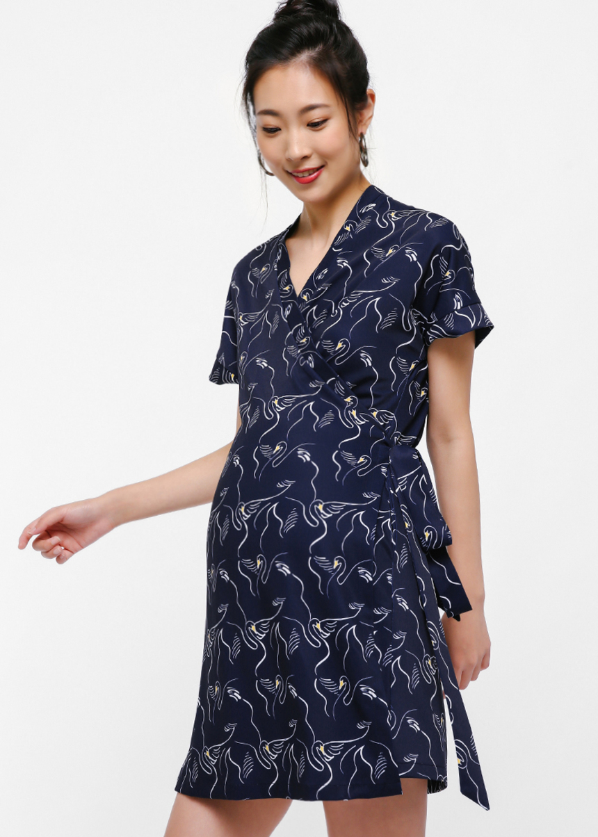 Ryland Printed Wrap Dress