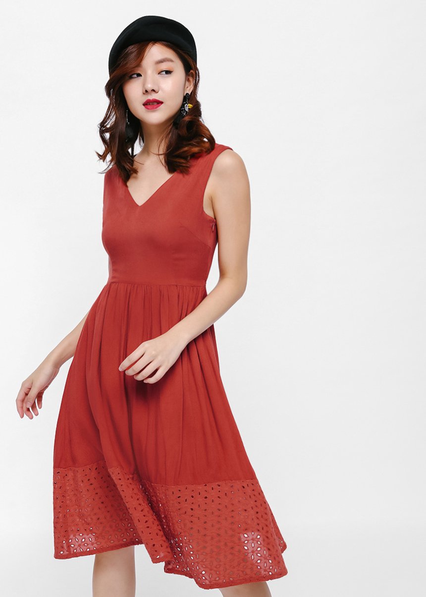 Devie Broderie Anglaise Panel Dress