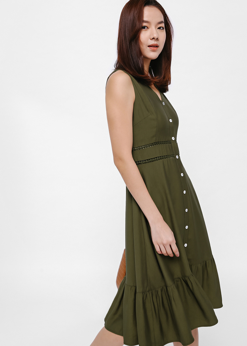 Koharu Ruffle Hem Button-up Dress