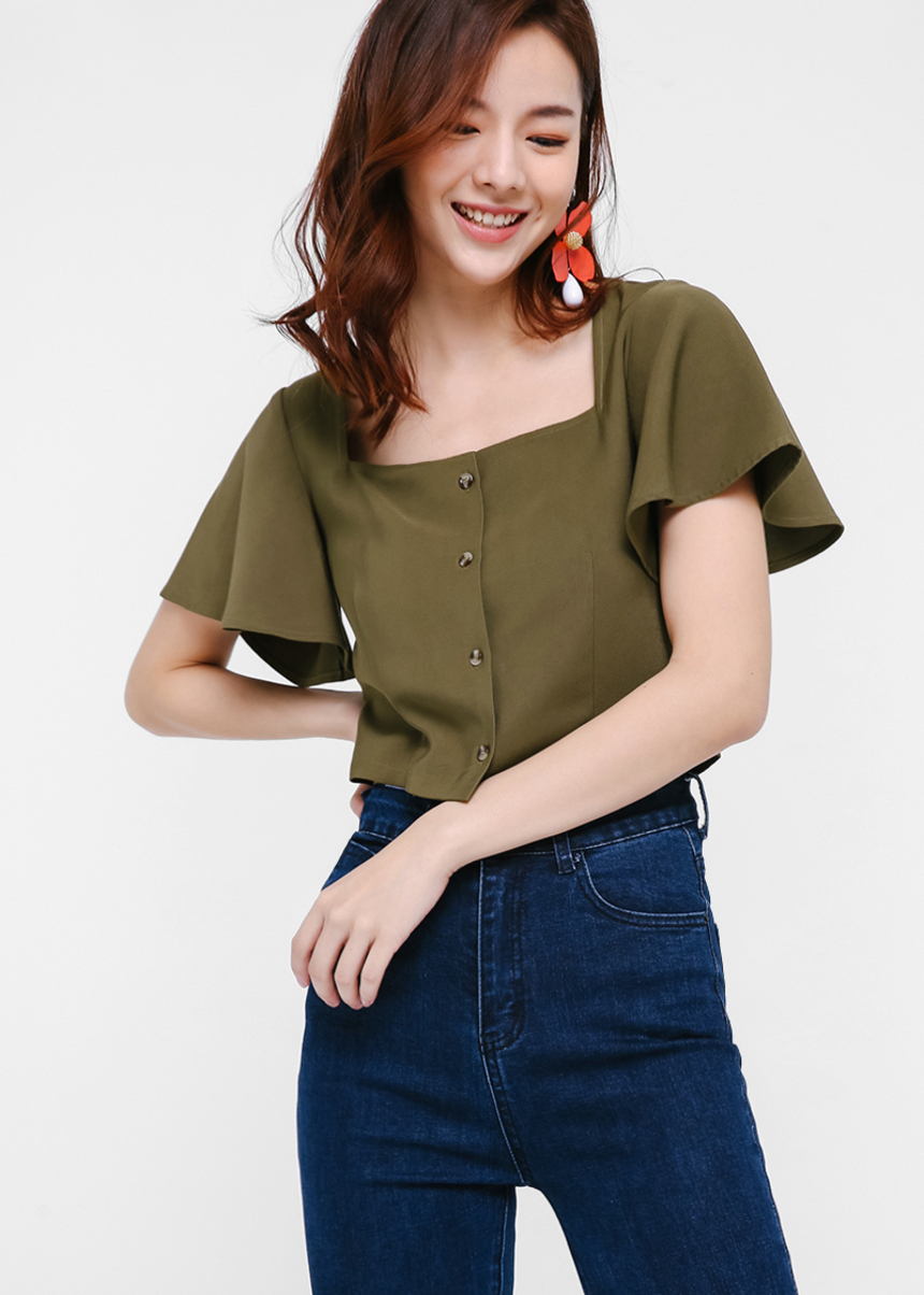 Jergen Flutter Sleeve Crop Top