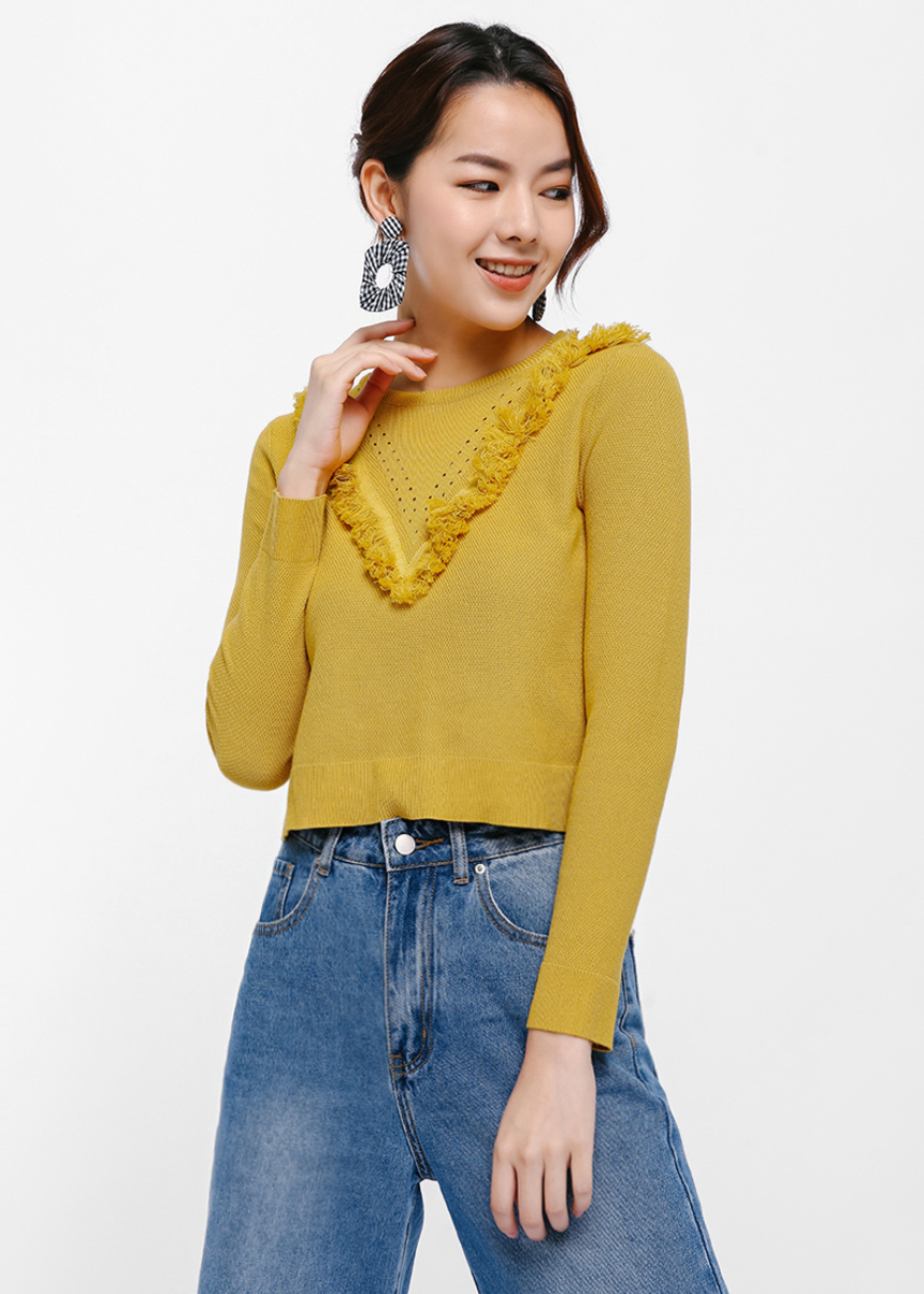 Aristess Tassel Yoke Sweater