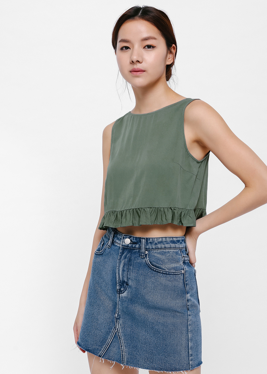 Dawn Ruffle Hem Crop Top