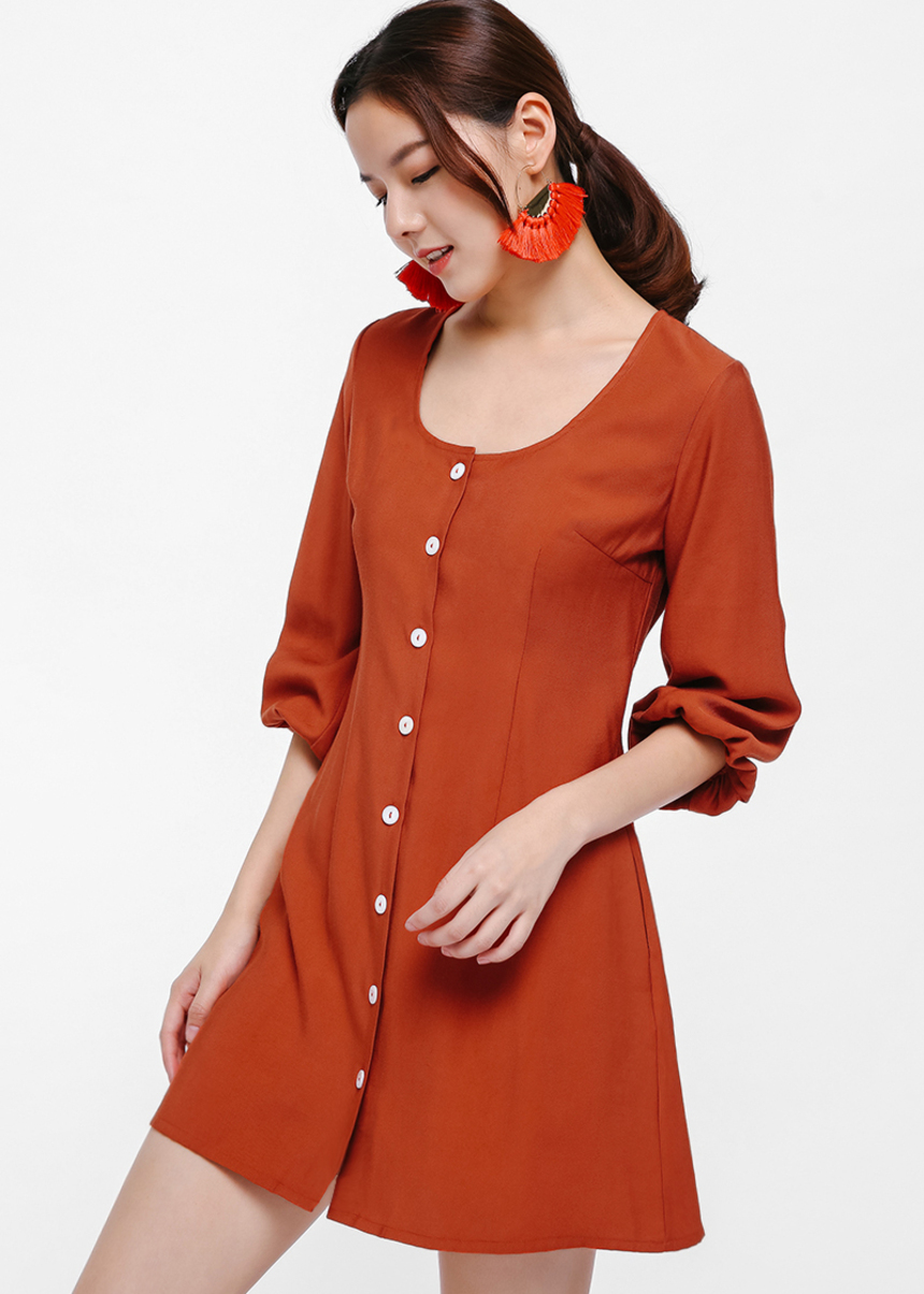 Ivo Puff Hem Button-up Dress