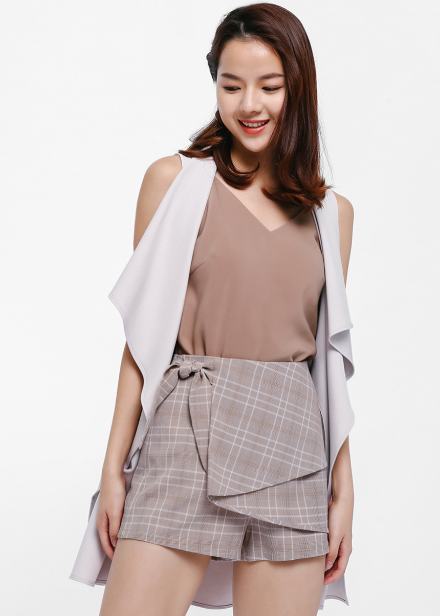 Irin Plaid Foldover Shorts