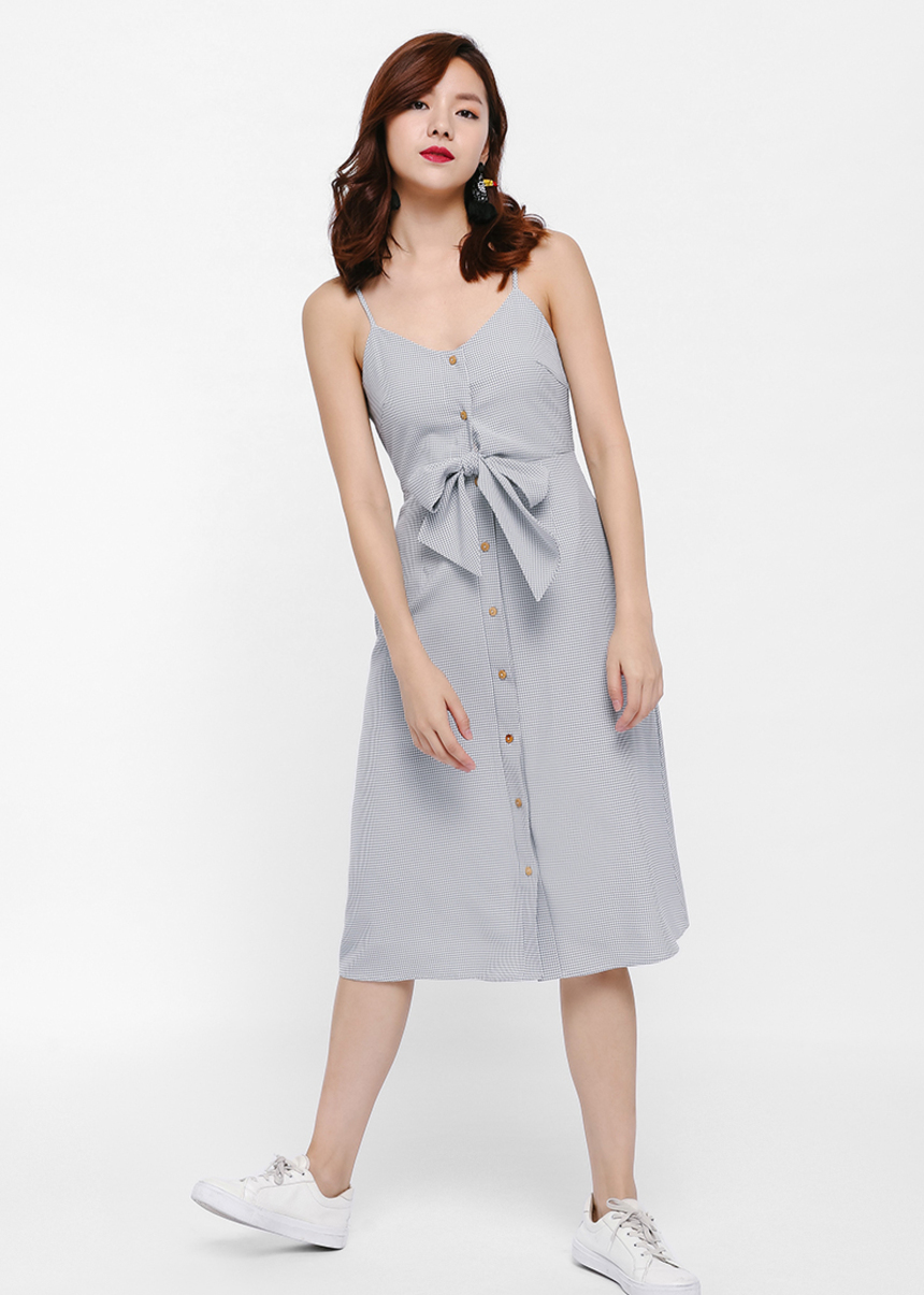 Russith Tie-front Button-Up Gingham Dress