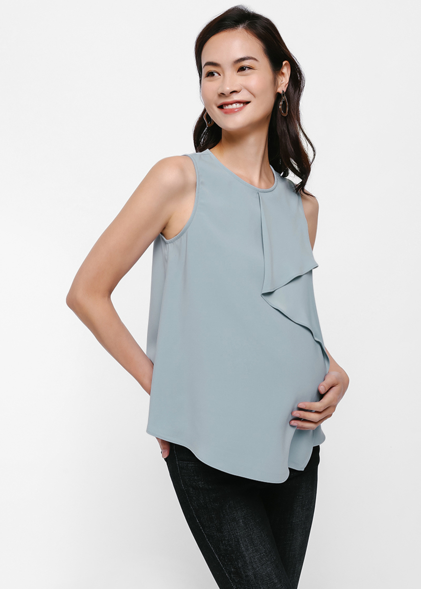 Pris Asymmetrical Fold Sleeveless Blouse