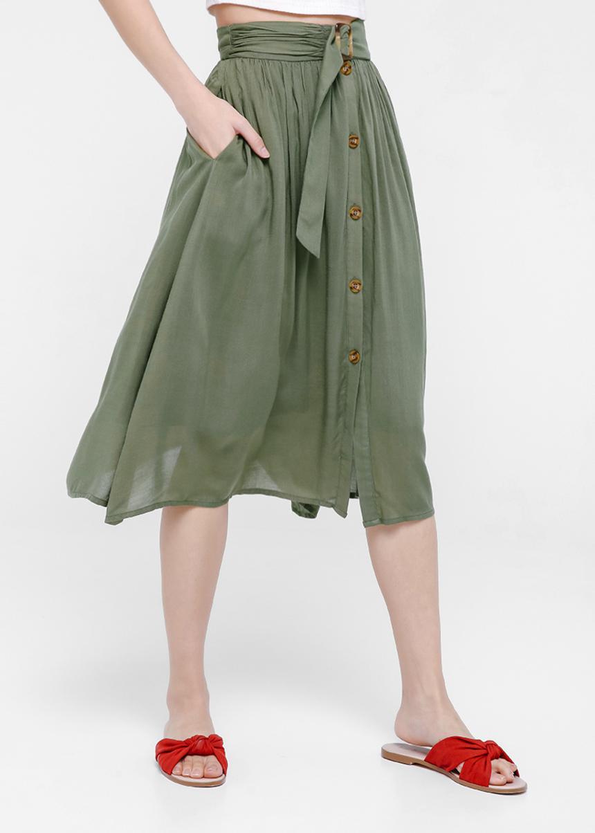 Ulyssa Belted A-line Full Skirt