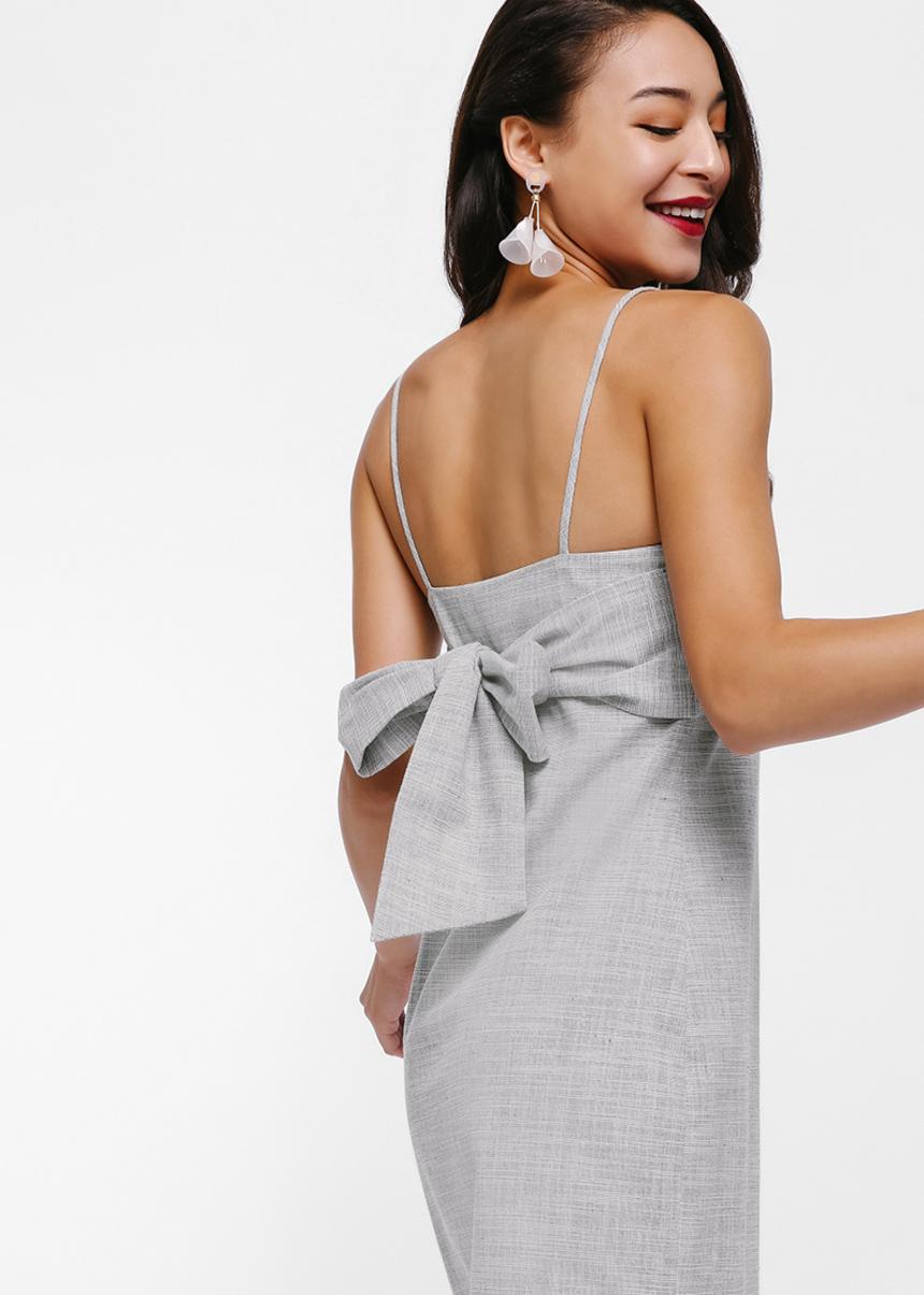 Beyana Tie Back Sash Midi Dress