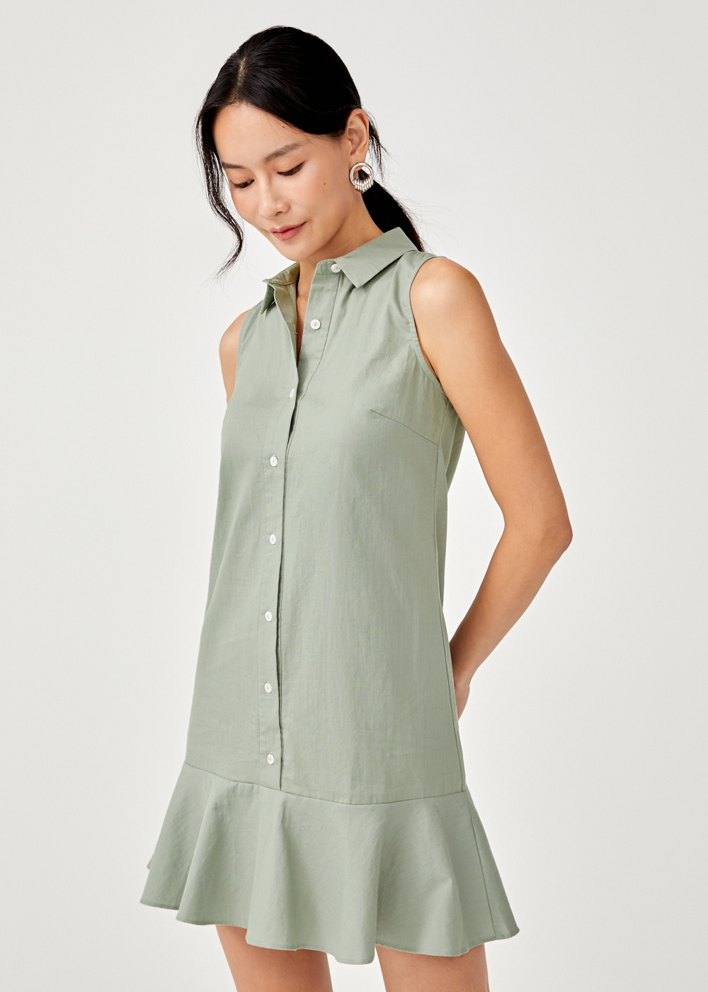 Pollette Drop Hem Sleeveless Shirt Dress