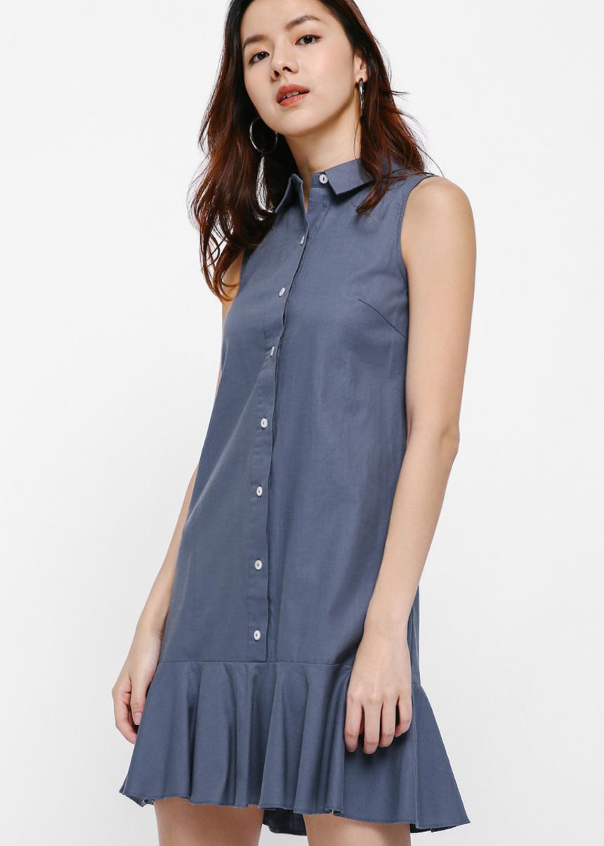 Pollette Drop Hem Sleeveless Shirt Dress