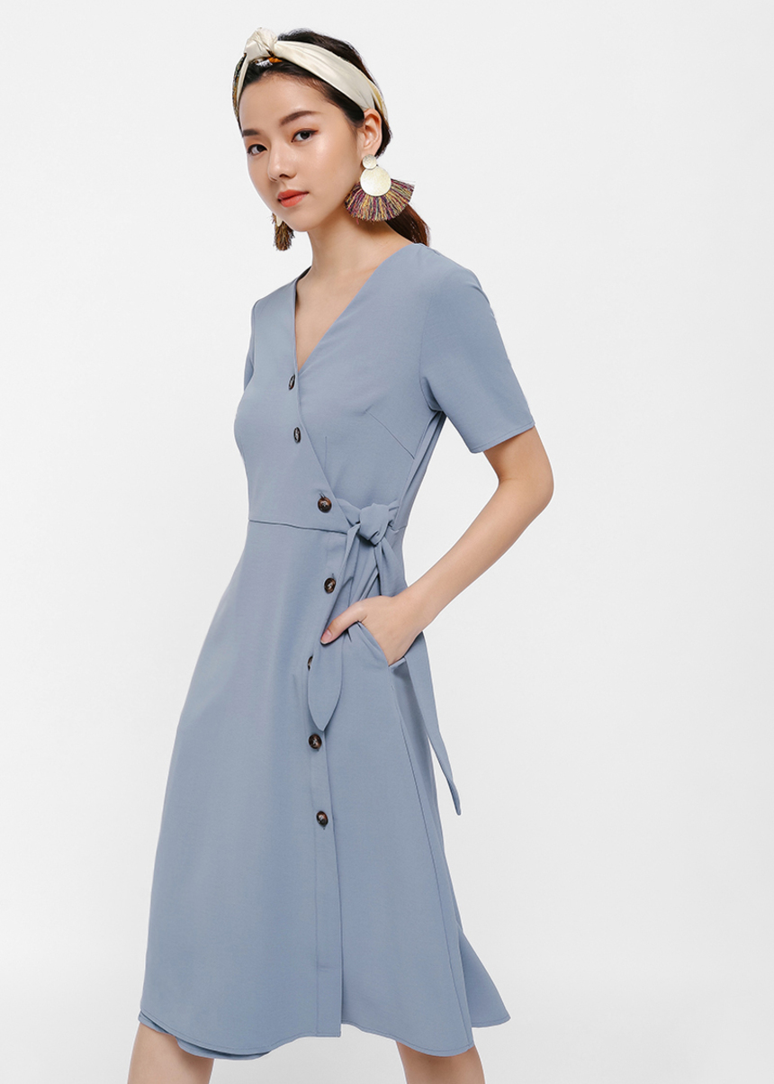 Hausta Button Up Midi Wrap Dress