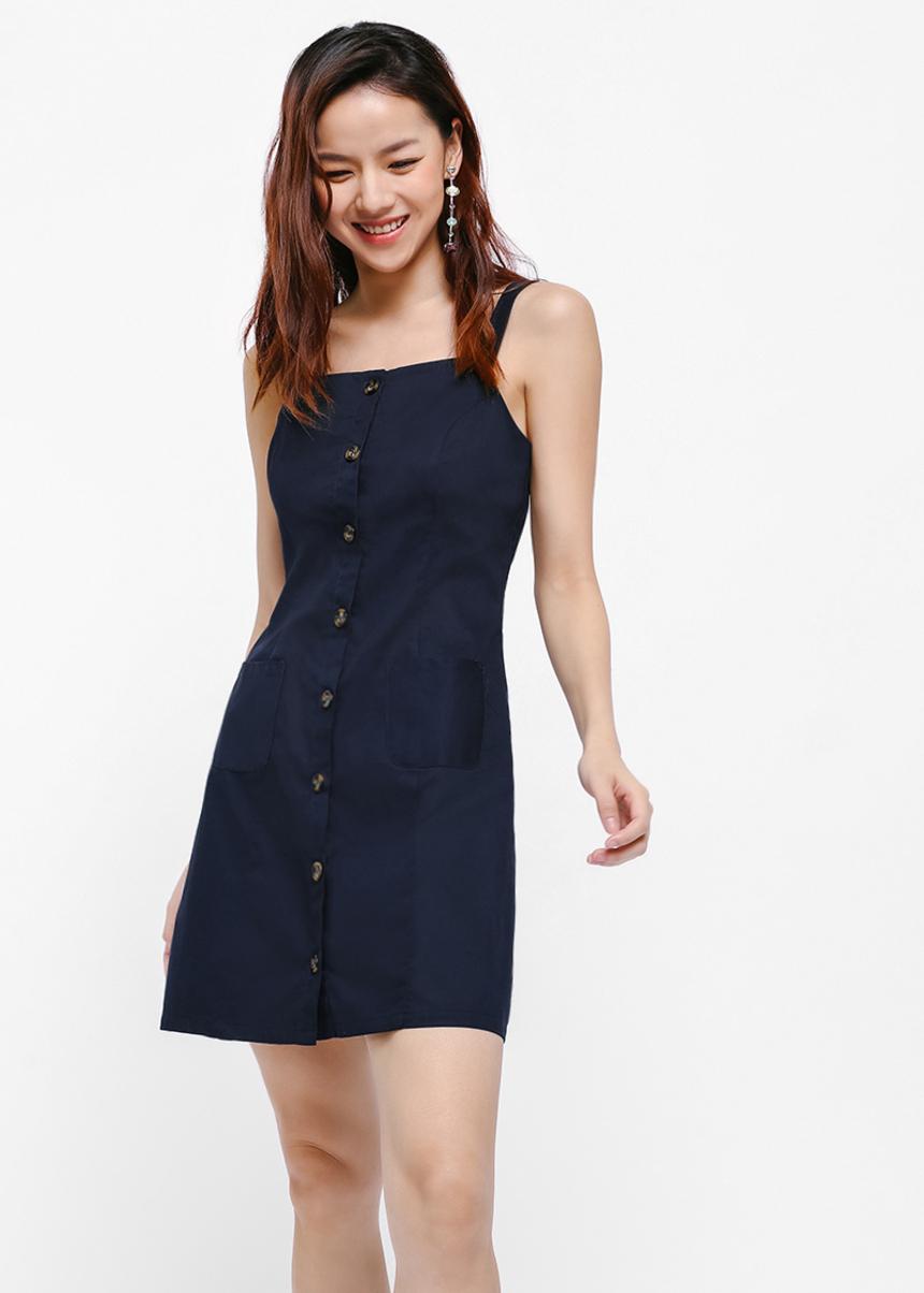button dress,