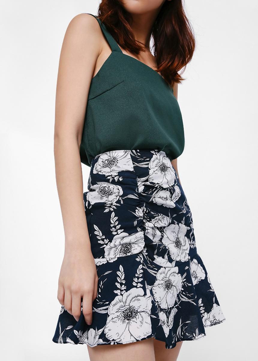 Tristessa Printed Flare Hem Miniskirt