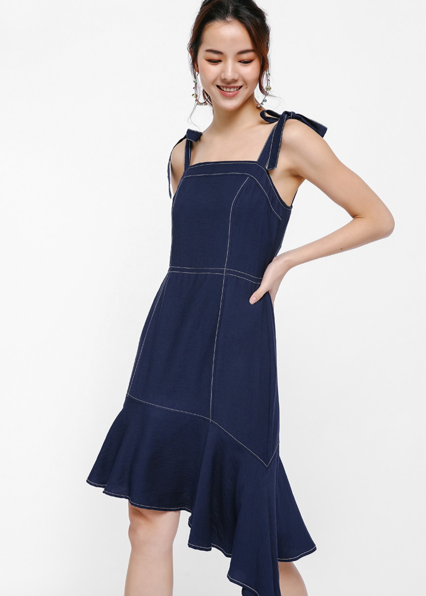 Ameli Asymmetrical Hem Apron Dress