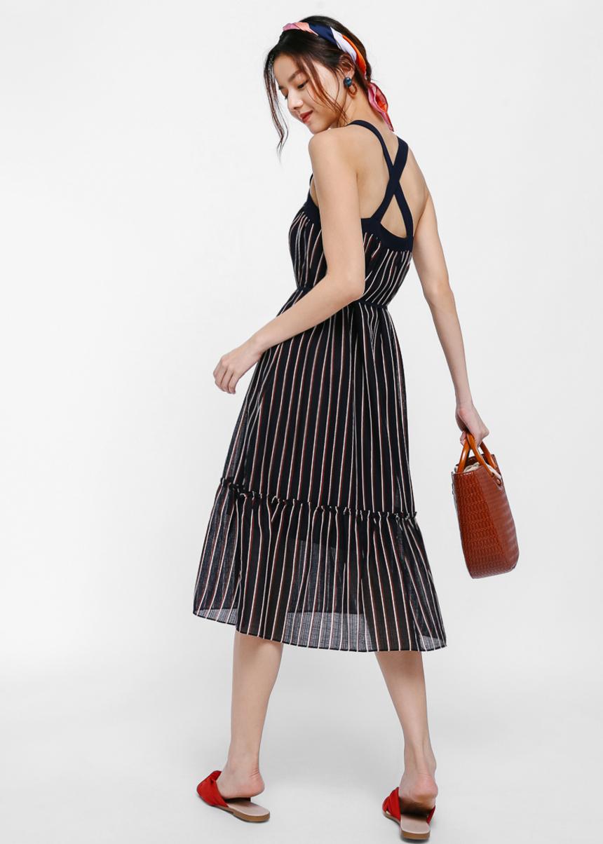 Myrna Striped Cross Back Midi Dress