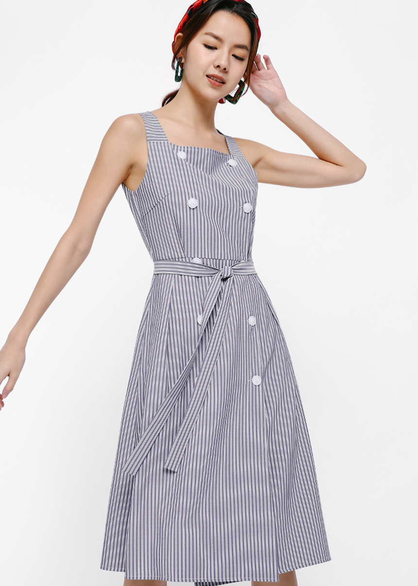 Kressa Button Front Midi Dress
