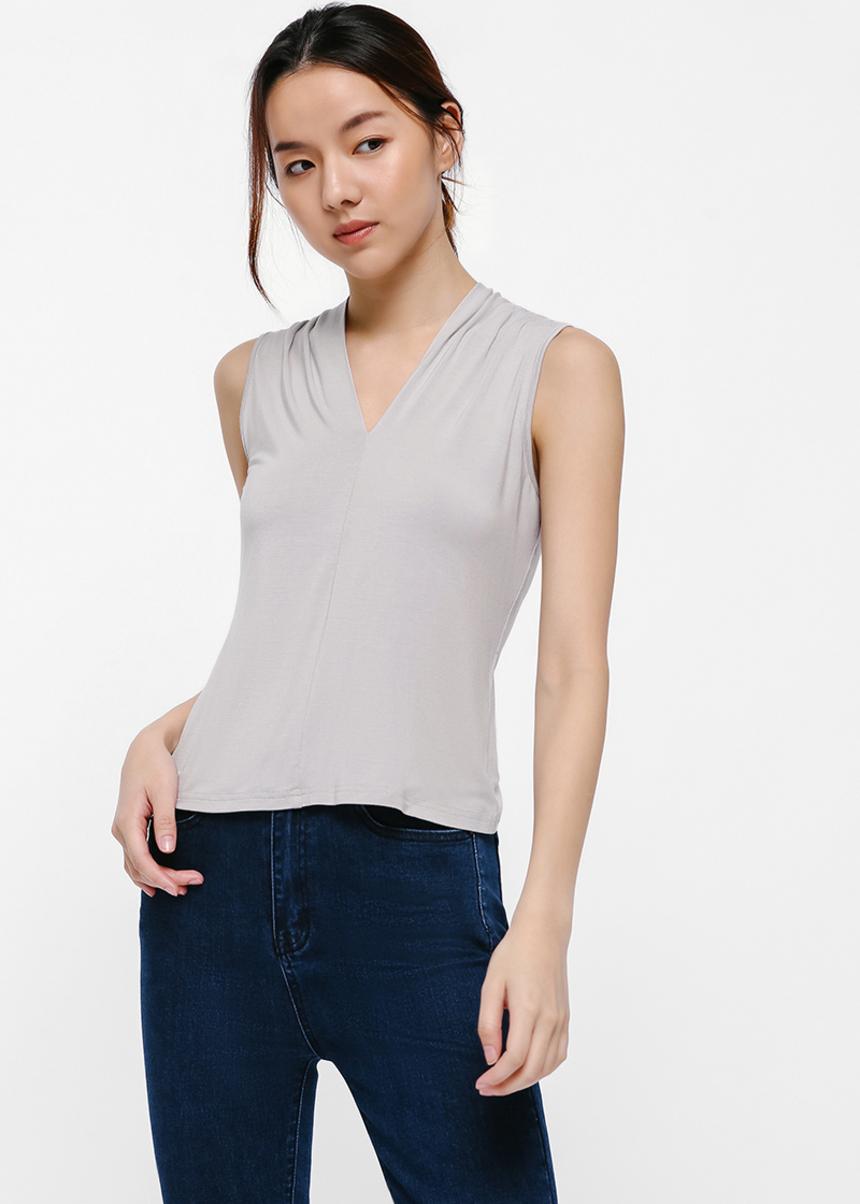 Brittany V-Neck Ruch Detail T-shirt